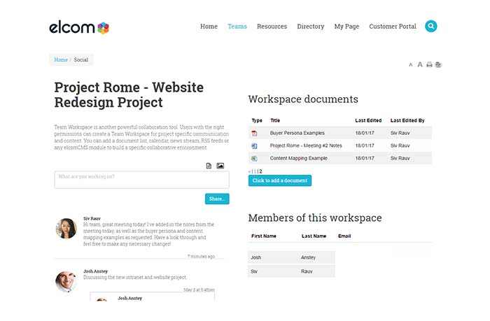 Company Intranet Features Team Workspaces