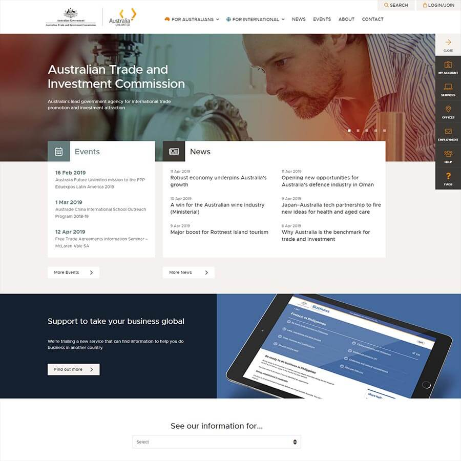 Austrade Website - Design Trends