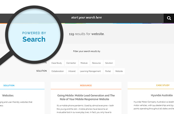 Elcom Website Redesign Search Feature