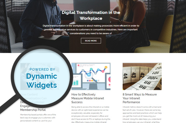Elcom Website Redesign Dynamic Widget Feature