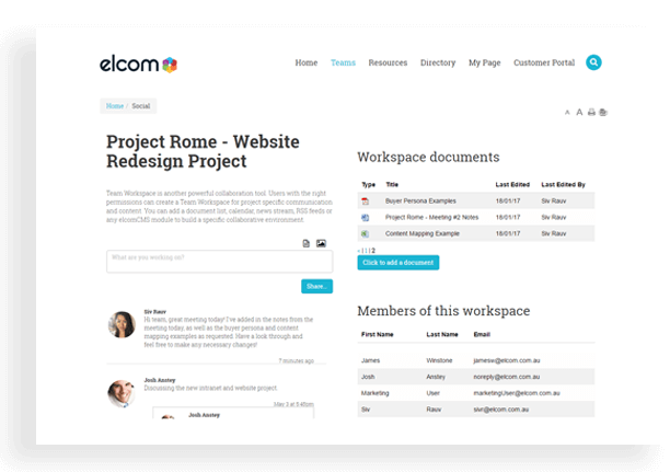 Website Solutions - Team Workspaces for Collaboration