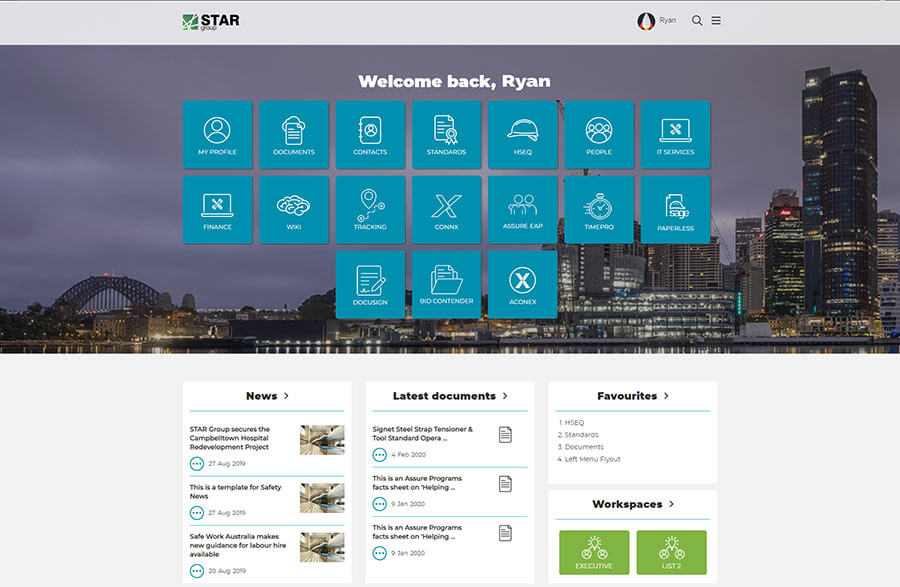 Star Group Intranet Homepage