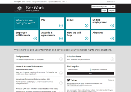 Fair Work Ombudsman Website Screenshot